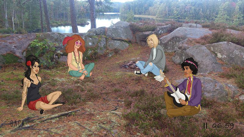 Fyra personer mediterar i skogen